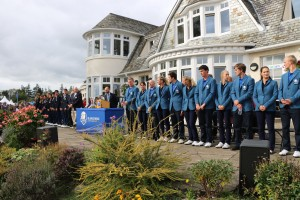 The Junior Ryder Cup teams line up at the trophy presentation ceremony at The Blairgowrie Golf Club